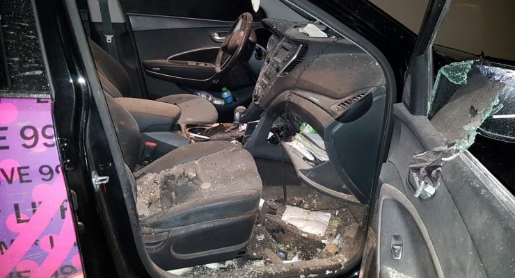 Car of Aimed Ayubi (Live99 FM) heavily damaged by fire works