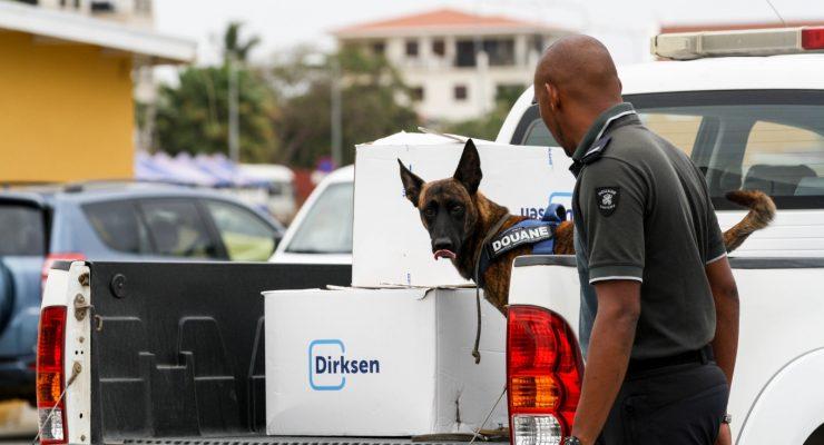 Presentation of customs dogs on Bonaire