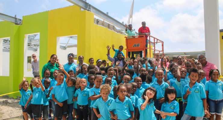Highest point renovation reached at San Luis School building