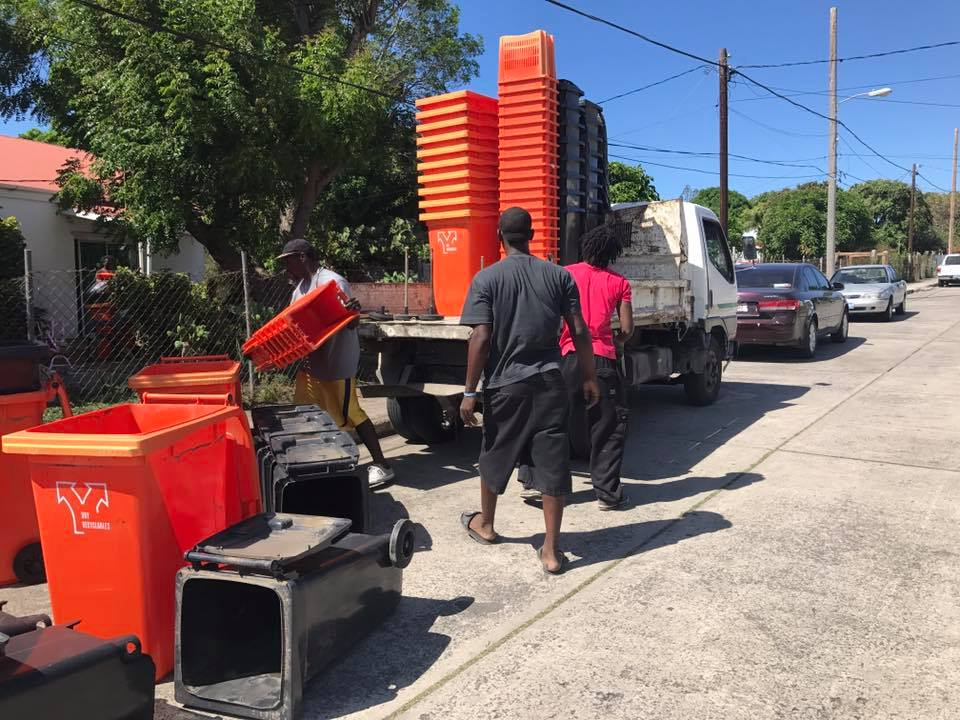 Waste bins being distributed on St. Eustatius