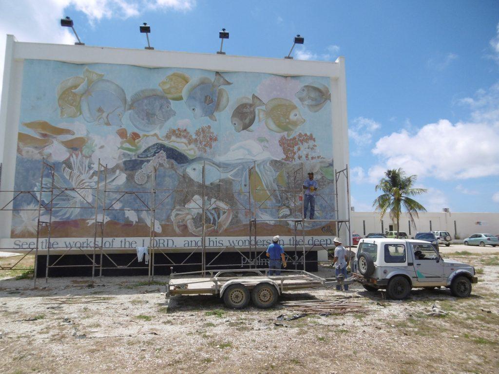 TWR's mural of underwater sea life is in scaffoldings