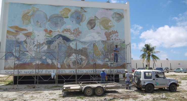 TWR's mural of underwater sea life is in scaffoldings