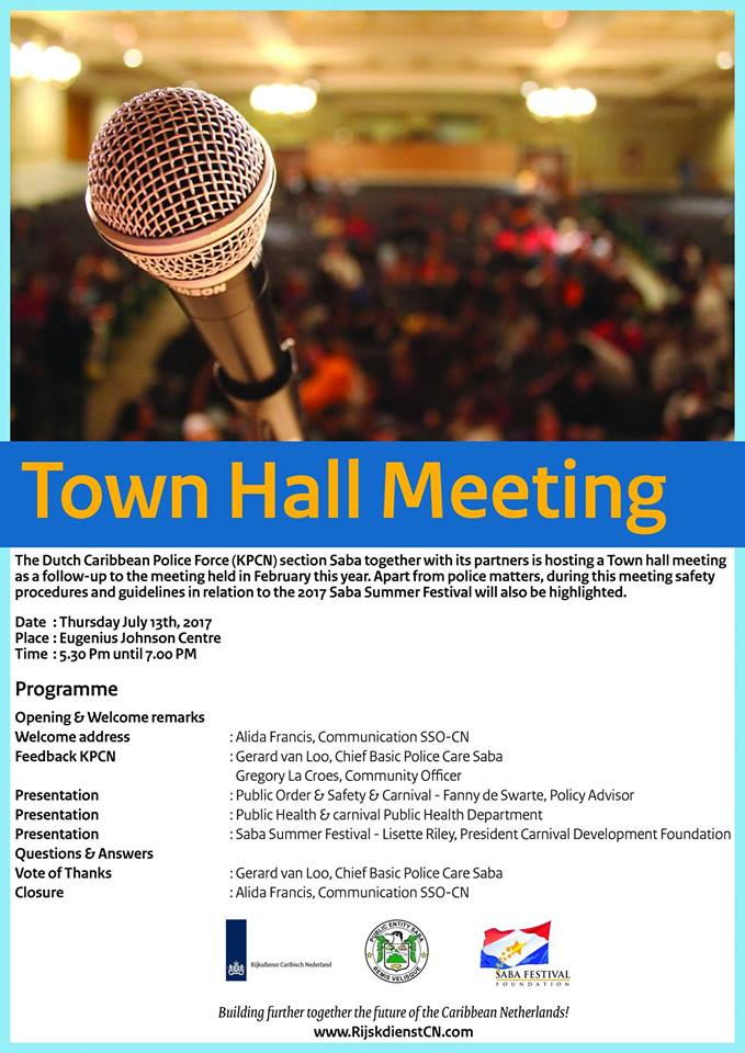 KPCN cordially invites the community of Saba to a Town Hall meeting