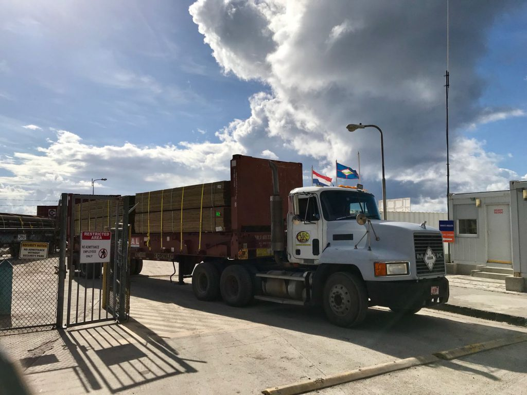 Construction material for rebuilding Statia has arrived