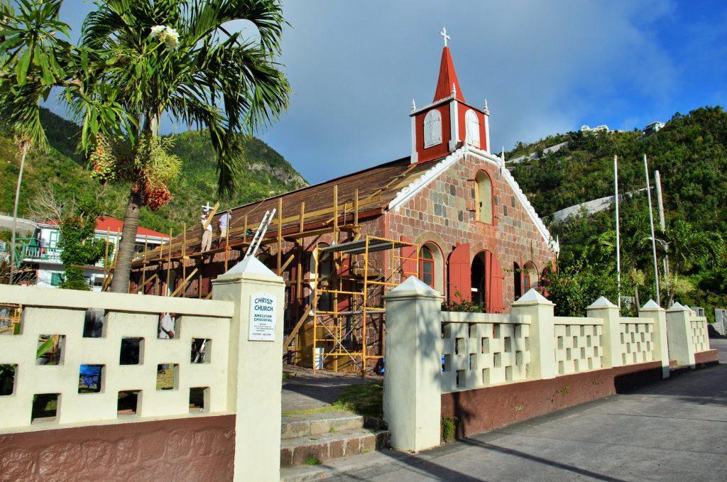 Impression of restaurantion work on Saba's oldest church
