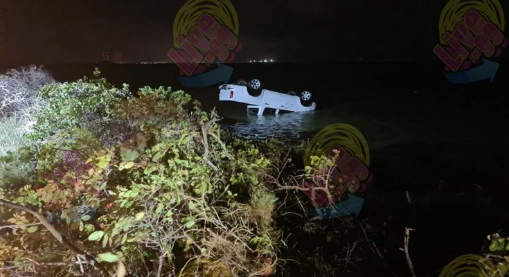 Rental Car rolls over close to Pink Beach
